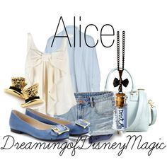 A fashion look from May 2012 featuring white tank, blue cardigan and distressed shorts. Browse and shop related looks. Disney Themed Outfits, Disney Bound Outfits, Alice In Wonderland Outfit, Alice Cosplay, Estilo Disney, Next Clothes, Disneybound, New Wardrobe, Disney Style