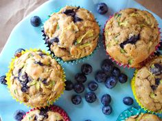 Blueberry Zucchini Muffins by cookingalamel #Muffins #Blueberry #Zucchini #Healthy