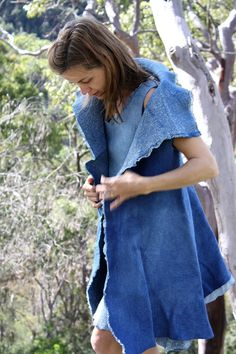 SALE Natural indigo dyed frock coat by GinaMastio on Etsy