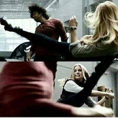 NO! Not another pic from Civil War! I am so done! Y'know, I liked her! But this bitch is going down! STEP. AWAY. FROM BUCKY!!!