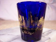 Chicago Shot Glass in Cobalt Blue by ECCENTRICRON on Etsy
