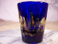 Chicago Shot Glass in Cobalt Blue by ECCENTRICRON on Etsy