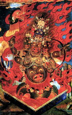 Dharmapalas, the protectors of Tibetan Buddhism Tibetan Mandala, Tibetan Art, Tibetan Buddhism, Buddhist Art, Japanese Painting, Japanese Art, Vajrayana Buddhism, Thangka Painting, Susanoo