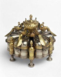 Spice box, Silver and silver gilt,Malwa,1st half 19th century