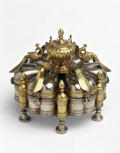 Spice box, Silver and silver gilt,Malwa,1st half 19th century