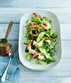 Poached Prawns with Cucumber, Chervil and Lamb's Lettuce Salad Recipe | Gourmet Traveller