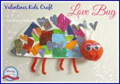 Valentines Love Bug  Early Learning Kids Craft Collage, Paper Plate, Preschool www.mumstakefive.com