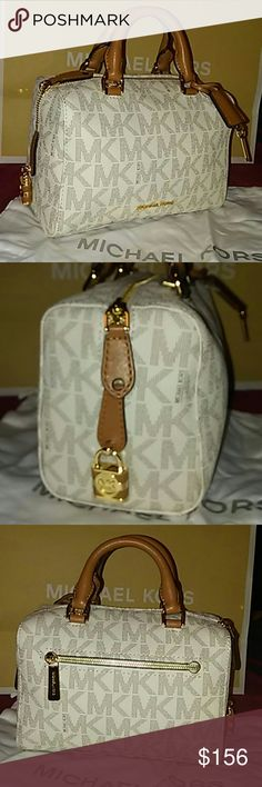 MICHAEL KORS Kirby Logo Crossbody Satchel Super cute, super fun NWT Michael Kors signature logo satchel in vanilla brown. Includes a shoulder strap and MK dust bag. -Please no low balling, don't waste your time or mine - No trades -Will consider any REASONABLE  offers Michael Kors Bags Satchels