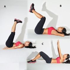 Triple threat ABS: Lie faceup with legs extended toward ceiling, feet flexed and arms at sides. Raise hips [A]; lower to starting position. Do 10 reps.    Next, place hands behind head and bend knees 90 degrees. Curl knees toward chest [B]; lower to starting position. Do 10 reps. Last, place feet on floor and extend arms straight up from chest.    Raise head and shoulders [c]; lower. Do 10 reps.