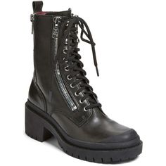 Marc by Marc Jacobs Zip It Multi Zip Boot ($187) ❤ liked on Polyvore featuring shoes, boots, black, black combat boots, platform boots, combat boots, leather boots and black lace up boots