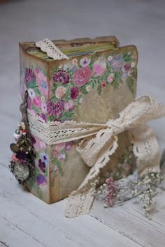 Wedding guest book or photo album with hand painted florals ,custom made in any colour 9x6 inches