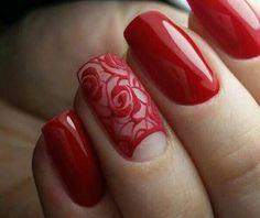 38 Trendy ideas for flowers red nails Rose Nail Art, Flower Nail Art, Nail Art Designs, Nails Design, Nagel Blog, Trendy Nail Art, Green Nails, Halloween Nail Art, Nail Arts