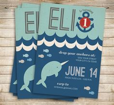 Printable Birthday Invitation // Nautical Narwhal by TheMombot, $16.00