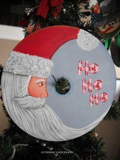 Crescent Moon Santa CD Ornament by CyndiMacsNickKnacks on Etsy, $17.95