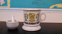 Vintage Pharmacist Mug with Mortar and Pestle by CollectorsAgency, $12.95