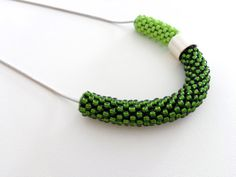 Green Rope Necklace/Minimalist jewelry/Beaded Rope by Luthopika