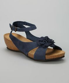 This Nubuck Blue Flower Leather Wedge Sandal by Relaxshoe is perfect! #zulilyfinds