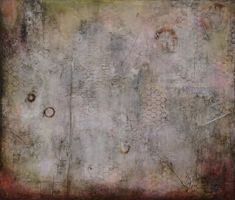 Claudia  Marseille - Claudia Marseille Palimpsest an encaustic and mixed media painting at Seager Gray Gallery in Mill Valley CA in the San Francisco Bay Area.
