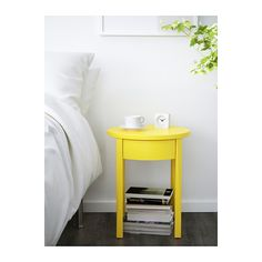 IKEA - STOCKHOLM, Bedside table, , Two of the legs are adjustable to give stability, even if the floor is uneven. Yellow Nightstand, Unique Bedside Tables, Bedside Table Ikea, Side Tables Bedroom, Ikea Bed, Ikea Stockholm, Affordable Furniture, Luxury Furniture, Bedroom Designs