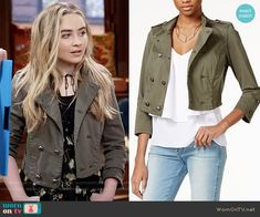 Maya's cropped double breasted jacket on Girl Meets World.  Outfit Details: https://wornontv.net/59906/ #GirlMeetsWorld