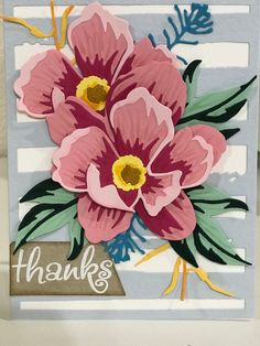 card flower flowers peon Altenew Peony Dream flowers Thank You Card - stripes background cover up die Card Making Inspiration, Making Ideas, Diy Cards Thank You, D Flowers, Altenew Cards, Paper Crafts Origami, Striped Background, Cardiology, Pretty Cards
