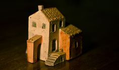 A small ceramic house from our old house in Italy. Clay Houses, Ceramic Houses, Miniature Houses, Mud House, House Roof, Little Houses, Mini Houses, Small Houses, Pottery Houses