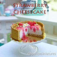 parisminiatures: *Miniature strawberry cheesecake* #minifood #miniatures #miniaturefood #polyclay #polymerclay #fimo