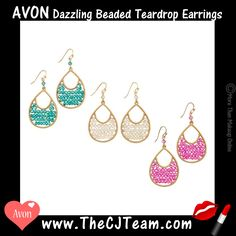 Dazzling Beaded Teardrop Earrings. Avon. Here's a bright idea! Make your summer style sizzle with glistening, glass-faceted beads. Available in Fuchsia, Peacock or Champagne. Regularly $14.99.  FREE shipping with any $40 online Avon purchase.  #CJTeam #Avon #Style #Sale #Jewelry #Fashion #C17 #Gift #Bracelet #Earring #TeardropEarring #BeadedEarring #Avon4Me Shop Avon jewelry online @ www.TheCJTeam.com