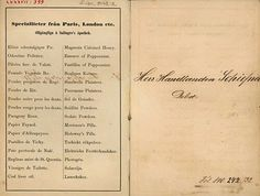 Apothecary list. Helsinki Finland 19th century