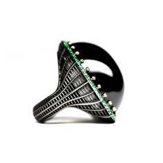 Roule & Company Black Agate Cabochon Emerald Pave Gold Cocktail Ring | 1stdibs.com