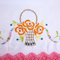 Vintage Pillowcases  Embroidered Flower Basket with by VintagePDX, $24.00