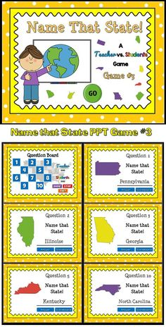 Practice identifying the 50 United States with this quick review Teacher vs. Student game. Students must correctly identify the US state from a picture. There are 10 questions and you just click on each question to go to it. The question disappears after you've clicked on it so you know you've answered it. There is a type-in scoreboard.  The scoreboard can be typed in during Slideshow Mode. Great for a brainbreak or quick time filler.