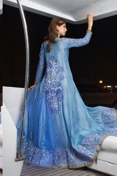 Blue Silk Salwar Kameez with Embroidered and Lace Work - Z2351P11056-2