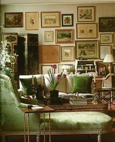 Why You Should be Afraid of Eclectic Gallery Art Walls - laurel home | Charlotte Moss' wonderful office and art wall