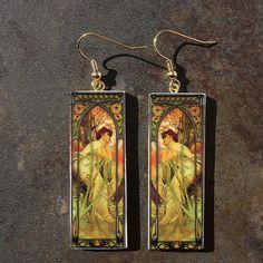 Art Nouveau polymer clay earrings by adrianaallenllc on Etsy
