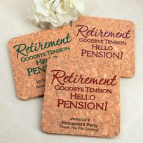 These coasters ROCK! They were a hit at the retirement party. The Cool Party Favors offers so much in selection and pricing. Retirement Announcement, Retirement Advice, Retirement Cakes, Happy Retirement, Announcement Cards, Retirement Celebration, Retirement Party Decorations, Retirement Parties, Cork Coasters