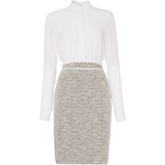 Hugo Boss Halennia Long Sleeve 2in1 Boucle Dress ($530) ❤ liked on Polyvore featuring dresses, vestidos, short dresses, vestiti, women, hugo, mini dress, long sleeve mini dress, boucle dress and collar dress