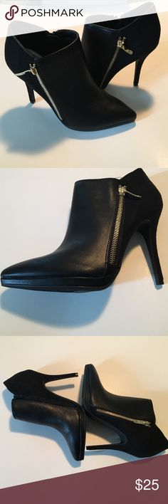 Fall fashion booties! Black with gold zipper! New in box, black booties with 4inch heel height. Black zipper on inside and gold on exterior. Suede on the back half and faux leather on the front. Lime Light Shoes Ankle Boots & Booties