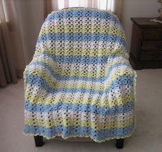 Sunny Skies Crochet Afghan - fly away to better days with this lovely afghan!