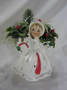 Vintage 1950's Napco Christmas Girl Lady Figurine Ceramic Planter Vase | eBay