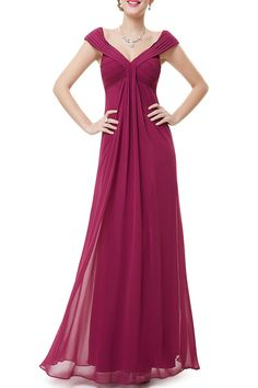 CICI.WANG -  Ruched Empire Waist Evening Dress