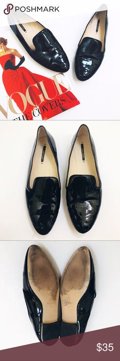 dc0624583279 Zara • Black Patent Leather Loafers Mirror Heel • Zara Patent Leather  Loafers w Mirror