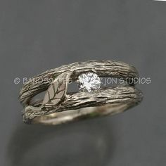 SOLITAIRE LEAF and White Sapphire A Twig Ring in by BandScapes
