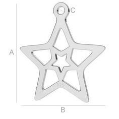 SILVER STAR PENDANT BL-0108 (0,40 MM) SIZE; A=15,50 mm; B=13,90 mm; C=1,20 mm, sterling silver (AG-925)  Available options: AG 925 (18K- Rose Gold Plated) AG 925 (24K- Gold Plated) AG925 ( BRH- Black Rhodium Plated) AG 925 (RH- Rhodium Plated)