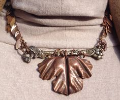 Fold-formed Copper Leaf Pendant on Cast Brass necklace