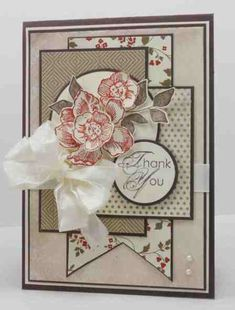 handmade card using sketches Mojo266 & PPC120 ... lots of matted layers ... soft neutral colors ... delightful thank you ...