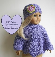 PDF CROCHET PATTERN by Lavenderlore for 18 Girl Dolls - Poncho and Hat with Irish Rose Pattern - Permission to Sell Finished Item Using Etsys PDF pattern download feature, this PDF pattern is immediately available upon receipt of payment. Adobe Acrobat or other pdf reader software is