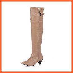 BalaMasa Girls Studded Rhinestones Metal Buckles Kitten-Heels Brown Imitated Leather Boots - 10 B(M) US - Boots for women (*Amazon Partner-Link)