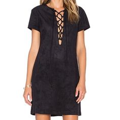 Black Suede Lace Up Dress Purchased at Nordstrom, worn once. Brand new condition. Laces close the deep split neckline on this luxe faux-suede WAYF dress. Cap sleeves. WAYF Dresses