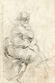 Gaetano Gandolfi (San Matteo della Decima 1734 – 1802 Bologna) Studies of Two Angels for known altarpiece Black chalk, watermark 10 ½ x 6⅜ in (268 x 162mm)